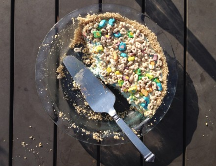 Lucky Charms Cereal Milk Ice Cream Pie - STARTED FROM THE BATTER
